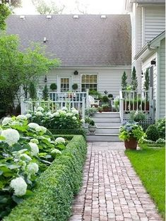 Pinned Curb Appeal Ideas The brick walkway flawlessly draws eyes and foot traffic to the home's entry point, the deck.The brick walkway flawlessly draws eyes and foot traffic to the home's entry point, the deck. Front Yard Walkway, Brick Walkway, Brick Path, Brick Sidewalk, Front Yards, Front Walkway Landscaping, Front Path, Shade Landscaping, Side Yards