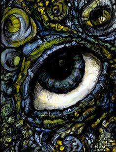 When I started my only goal was to paint an eye, the paint just flowed into it's right spot from there. Now looking back at this piece, I get a Giger feel from it. My Doodle, Eye Art, Colored Pencils, Art Prints, Eyes, Artist, Painting, Inspiration, Colouring Pencils