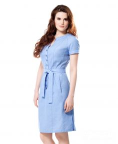 Shirt Dress in Blue, for a big bust