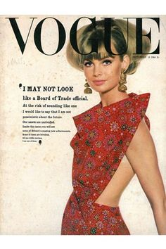 Jean Shrimpton on the cover of British Vogue, 1963, photographed by David Bailey.
