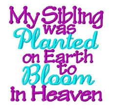 My Sibling was Planted on Earth to Bloom in Heaven - Embroidered Onesie or Shirt - Miracle Rainbow Baby