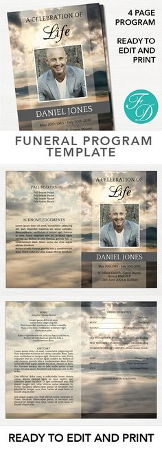 Pink flowers Printable Funeral program ready to edit \ print - celebration of life templates