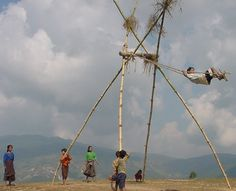 Dashain festival -Children playing swings