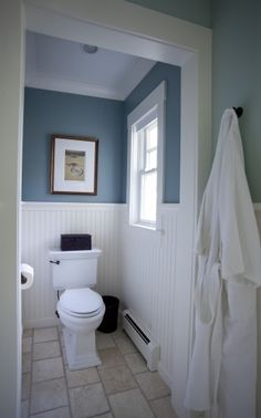 Project while hubby is away! This almost looks exactly like my bathroom I just need this paint color!