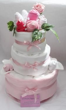 3 tier nappy cake with keepsake capsule