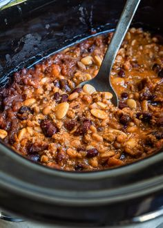 Beans In Crockpot, Slow Cooker Beans, Slow Cooker Recipes, Crockpot Recipes, Cooking Recipes, Crock Pot Baked Beans, Calico Beans Recipe, Easy Dinner Recipes, Easy Meals