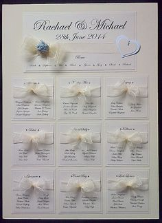 Ivory pearlescent card used on this wedding table plan. Small pastel blue gemstones to match the colour of the bridesmaids dresses. Lovely puffy hand tied bows to add a little luxury. Bridesmaids, Bridesmaid Dresses, Blue Gemstones, Table Plans, Pastel Blue, Traditional Wedding, Facebook Sign Up, Wedding Table, Ivory