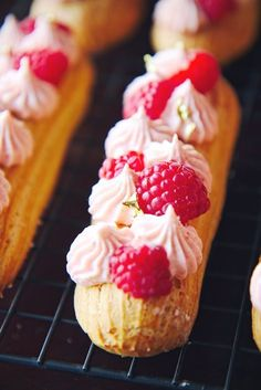 Raspberry White Chocolate and Nutella Éclairs | La Pêche Fraîche