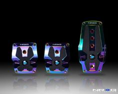 NRG Sport Pedals - Neochrome Aluminum - Black Rubber Inserts Mt - 3 Piece - Part # PDL-200MC