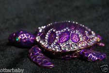 SWAROVSKI CRYSTAL BEJEWELED ENAMELED HINGED TRINKET BOX - PURPLE SEATURTLE