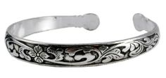 Flower Skinny White Metal Tibetan Cuff Bracelet, #13 Hinky Imports. $12.99. Adjustable Size: One Size Fits All. Made from Alloy. Hand Crafted By Nepalese Artisans. Width: 0.35 Inch. Chakra Balancing Protection From Negative Influences