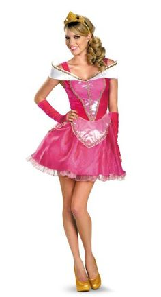 Disguise Disney Deluxe Sassy Aurora Costume, Pink/White Dress - Standard Sizes