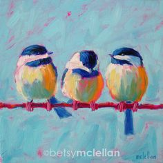 Chickadees - Original Painting - 10x10. $45.00, via Etsy.