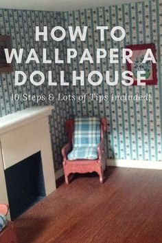 Find out step by step just how to wallpaper your dollhouse. Miniatures STORE Confused about how to apply dollhouse paper? Fear not, because we list all the steps plus a bunch of helpful tips in this post. Dollhouse Miniature Tutorials, Miniature Crafts, Dollhouse Ideas, Miniature Houses, Miniature Dolls, Diy Dollhouse Miniatures, Dollhouse Interiors, Diy Dolls For Dollhouse, Dollhouse Bookcase