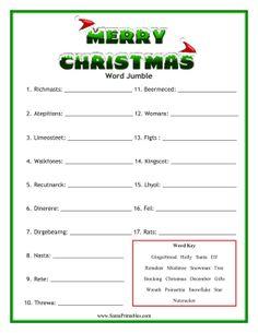 image regarding Free Printable Christmas Word Games referred to as xmas term scramble