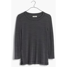 MADEWELL Thermal Side-Button Tee ($30) via Polyvore featuring tops, t-shirts, shale grey, 3/4 sleeve t shirts, gray t shirt, thermal t shirt, grey tee and thermal tee