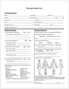 Free Massage Intake Forms  Massage Client Intake Form General And