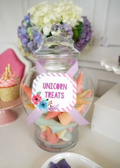 Unicorn treat label from a Pastel Unicorn Birthday Party on Kara's Party Ideas   KarasPartyIdeas.com (8)