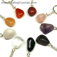 Keychains - Tumbled Keychain Assortment #4 (9pcs.)- - Healing Crystals