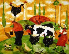 Animal Folk Art Paintings | ... Painting by Debi Hubbs - Hubbs Art Folk Prints Whimsical Farm Animals