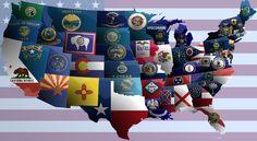 USA state flag map