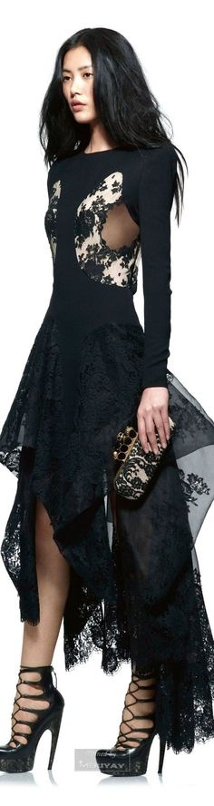 black dress @roressclothes closet ideas women fashion outfit clothing style Alexander Mcqueen. 2015: