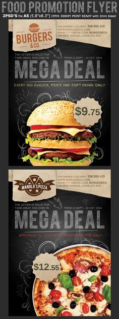 Restaurant/Fast Food Promotion Flyer Template on Behance - Graphic Templates Search Engine Restaurant Promotions, Restaurant Marketing, Restaurant Poster, Restaurant Recipes, Menu Design, Food Design, Brochure Food, Food Promotion, Roll Up Design