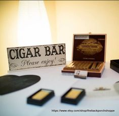 CIGAR BAR Please enjoy Self Standing Sign / Hand Painted Shabby Vintage Wedding Signs / 4 3/4 x 12