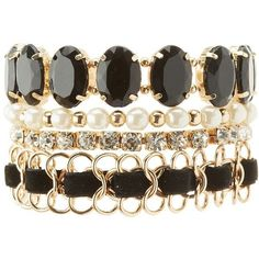 Charlotte Russe Embellished Layering Bracelets - 4 Pack ($6) ❤ liked on Polyvore featuring jewelry, bracelets, black, charlotte russe jewelry, layered jewelry and charlotte russe