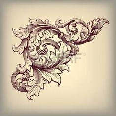flower engraving: vecteur vieux baroque défilement conception Équerre modèle élément gravure rétro ornement de style Illustration