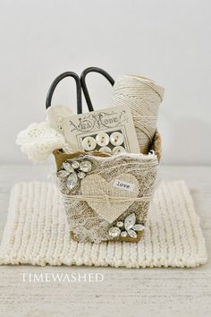 Vintage Inspired Heart Basket by timewashed on Etsy