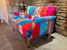 Patchwork sofa, designed vintage style with vibrant retro velvet colours! Two seater  Constructed with solid wooden frame  Rolling on caster…