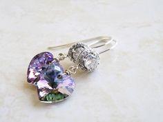 Lilac Teal Swarovski Crystal Heart Earrings CZ Halo by SomsStudio, $21.00