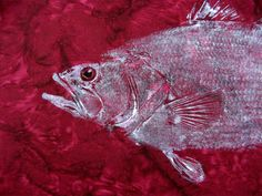 Largemouth Bass original Fish Art Rubbing (GYOTAKU) on Deep Red Batik Cloth