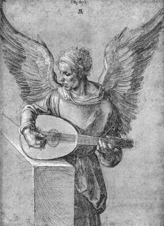 Albrecht Dürer ~ Winged Man, in Idealistic Clothing, Playing a Lute, 1497