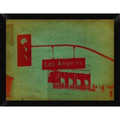 """Naxart 'LA Street Light' Framed Graphic Art Print on Canvas Size: 20"""" H x 26"""" W x 1.5"""" D"""