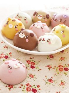 ♡• CʋTε F00D~~ •♡ animal shaped miniature cakes - kitty face - puppy face - bunny face - icing - pastel - japanese sweets - kawaii
