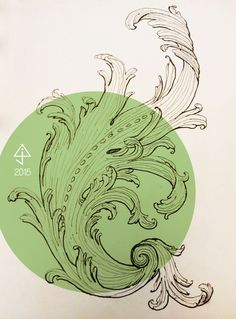 Acanthus Scroll February 2015 Architectural Study pencil, pen and ink on drawing paper + photoshop Colouring, Coloring Books, February 2015, Acanthus, Pencil, Photoshop, Study, Ink, Architecture