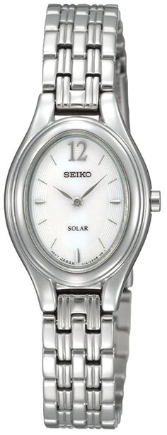 Seiko Women's SUP005 Solar Silver Oval Dial Watch ** Check out this great image