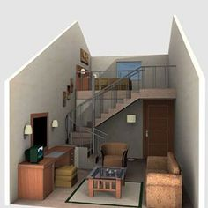 Home Decoration For Wedding Key: 3203769054 - Modern Condominium Interior, Loft Bed Plans, Modern Small House Design, Stairs In Living Room, Master Bedroom Interior, Minimalist Room, Home Room Design, Sims House, Concept Home