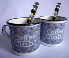Caneca Ágata Coffee & Colherinha Bordad