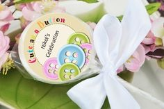Cute As a Button - Personalized Baby Shower Lollipop Favors