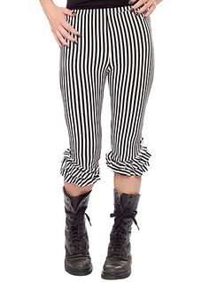 Steampunks Pants & Bloomers BW Striped Bloomers Leggings $39.00 AT vintagedancer.com