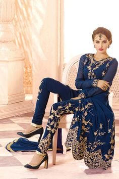 445451 Blue color family Party Wear Salwar Kameez in Faux Georgette fabric with Machine Embroidery,Resham,Thread work . Pakistani Couture, Pakistani Outfits, Indian Outfits, Fashion Mode, Asian Fashion, Indian Attire, Indian Wear, Ladies Salwar Kameez, Salwar Suits
