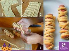 Haz divertidos tus hot dogs convirtiendo las salchichas en momias.  #halloween #snacks #food #party