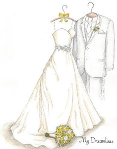 Best Christmas gift of 2014 - her wedding dress sketched.  https://www.etsy.com/listing/197871715/sketch-of-wedding-dress-tux-bouquet-one?ref=shop_home_active_15