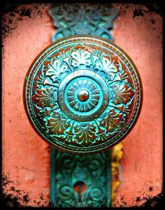 Antique Verdigris Doorknob - Fine Art Photography Print - custom listing for Jane Lynton 4 5x7's of chosen doorknobs.