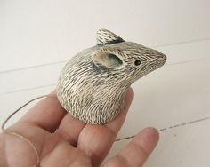 Clay Mouse Animal Sculpture Handmade Ceramic Art by Iktomi on Etsy