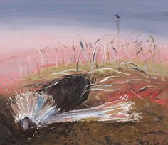 ARTHUR BOYD Bride in Pink Landscape: Boyd had taken the idea of a half-caste groom wooing a half-caste bride, worked it into a series of large-scale paintings, each with their characters caged within the four sides of the picture plane, and constructed a kind of passion play about the tribulations associated with the pursuit of love.