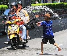 Songkran water festival, today is Thai New Year